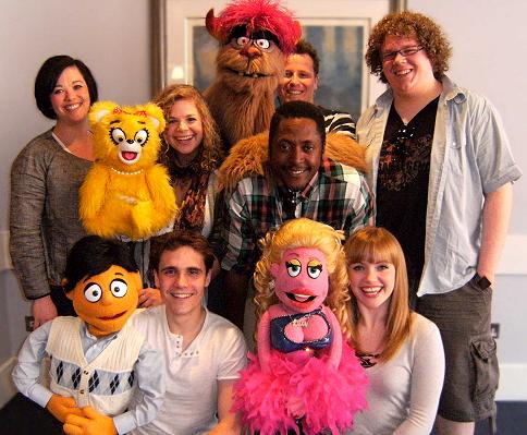 The UK cast of the 'Avenue Q' musical at the Birmingham Hippodrome