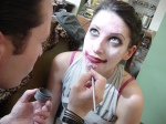 Artist Steve Mitz May applies make-up for the Birmingham Zombie Walk 2011