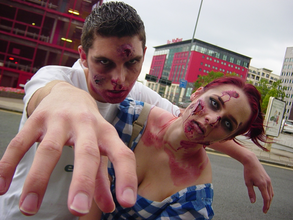 Jamie Chapman and Victoria Ann Gould prepare for the Birmingham Zombie Walk
