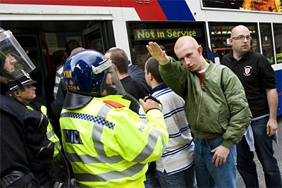 EDL racist Nazi seig heil in Birmingham