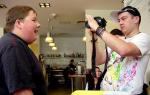 Jordan Goode and Gordon Campbell vlogging in Birmingham
