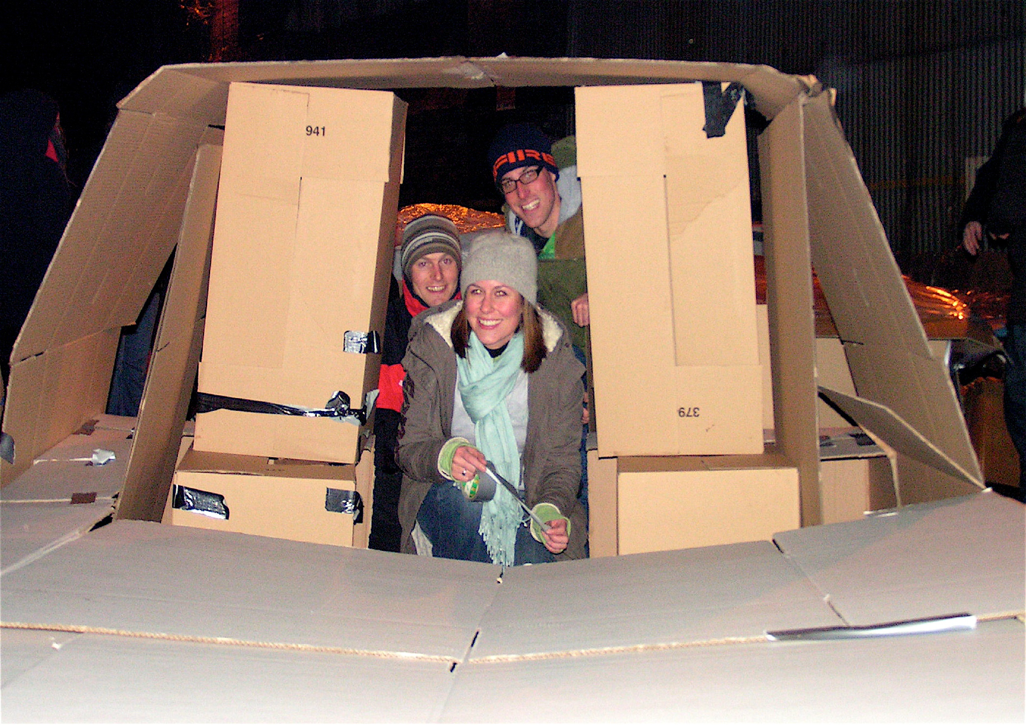 Creative cardboard dwellings at a previous St Basils Big SleepOut event