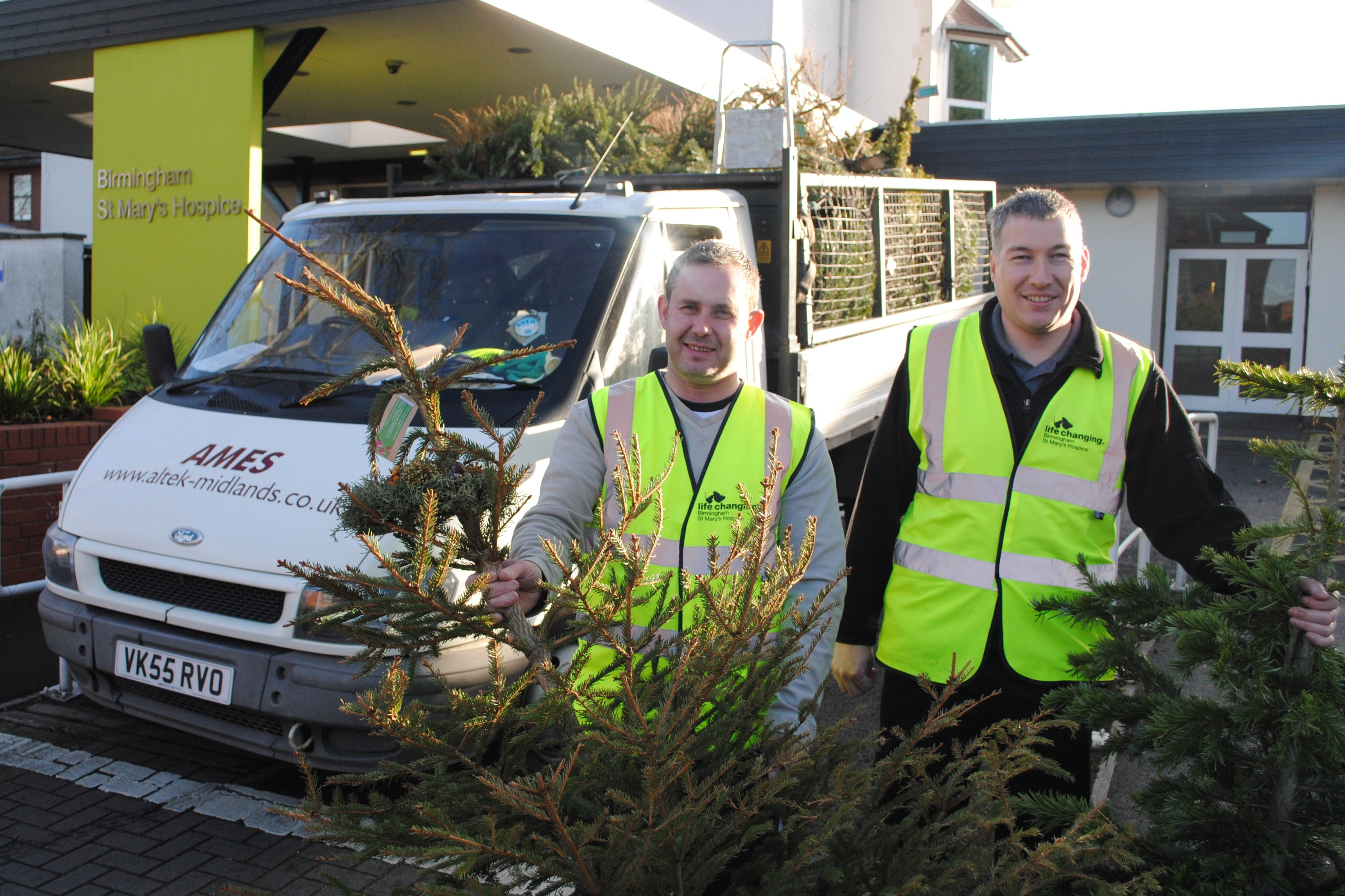 Recycling Christmas trees with St Mary's Hospice in Birmingham