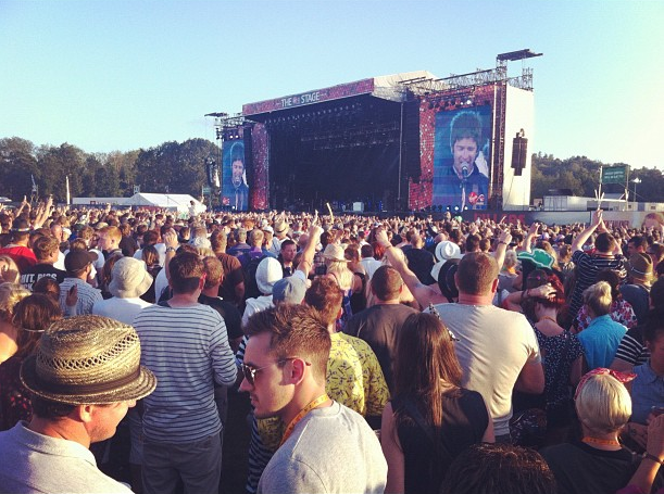 Noel Gallagher on stage at the V Festival 2012