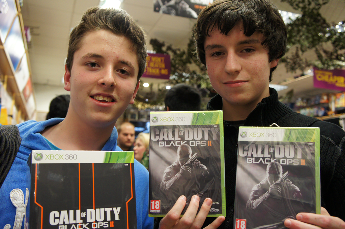 Call of Duty Black Ops 2 launch at GAME store in Birmingham Bullring with Liam Bradley and Philip McCahill