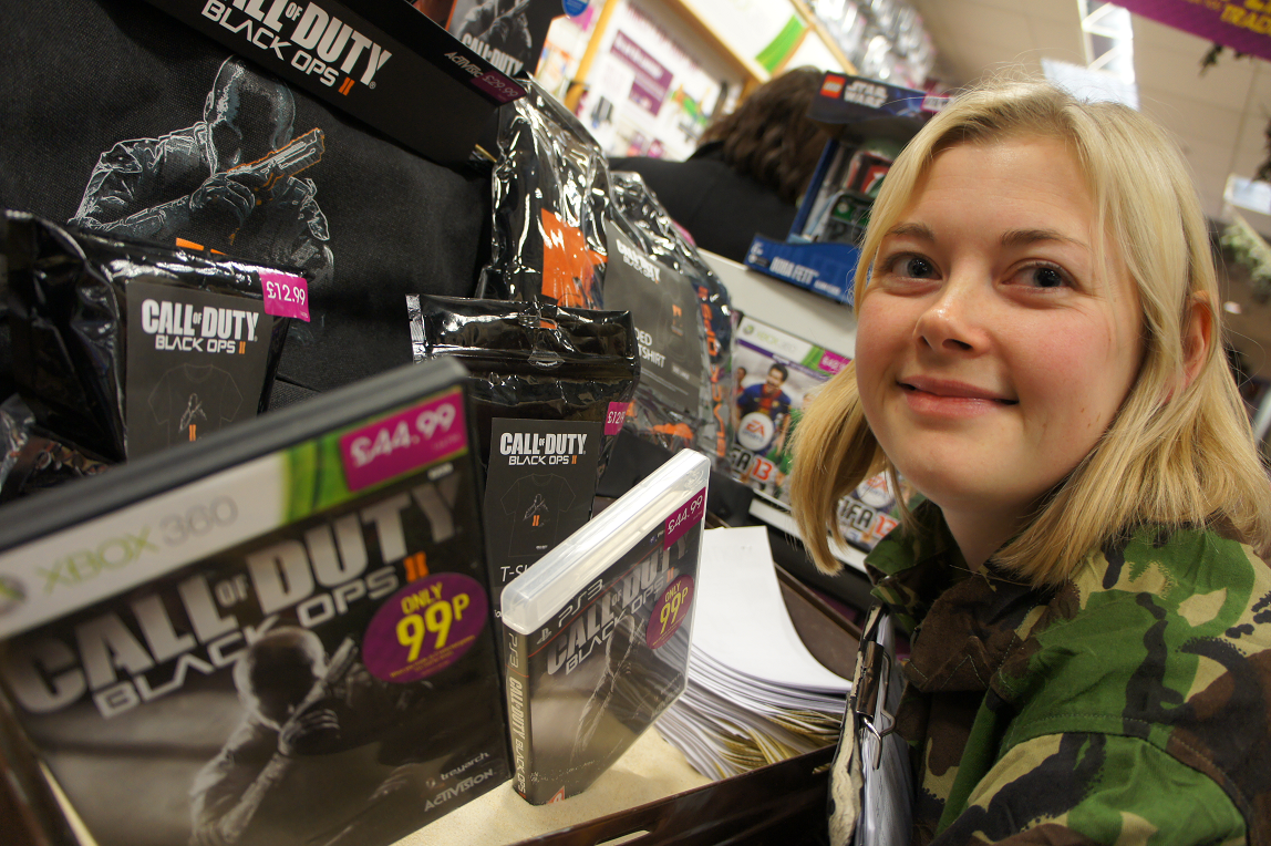 Call of Duty Black Ops 2 launch at GAME store in Birmingham Bullring with Sarah Stallard
