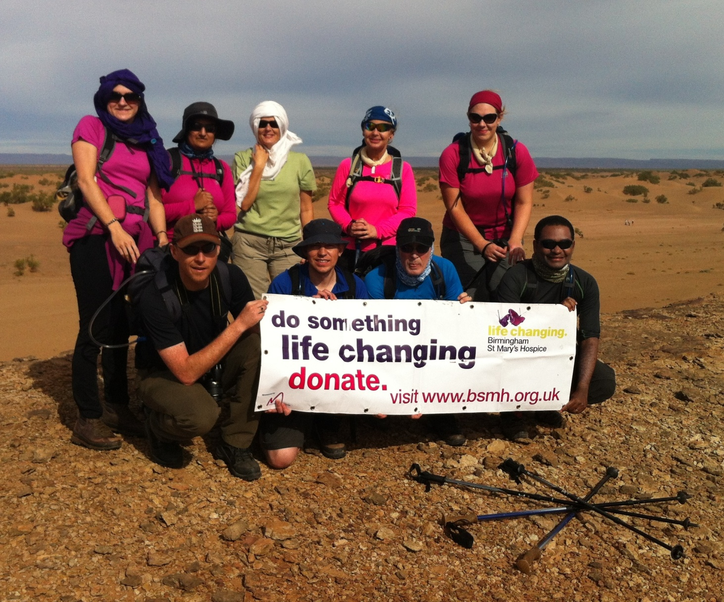 A team of trekkers raising money for Birmingham St Mary's Hospice in the Sahara desert in 2012
