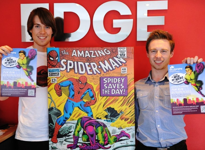 Sam Reader and Ben Towler from EDGE Creative getting ready for the Birmingham St Mary's Hospice Heroes Fun Run