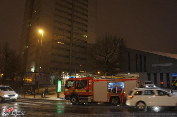 A fire broke out in Clydesdale Tower, in the centre of Birmingham. Photograph: Adam Yosef