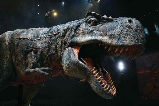 Huge and incredibly lifelike dinosaurs, including this T-Rex, took to the stage at the NIA Birmingham.