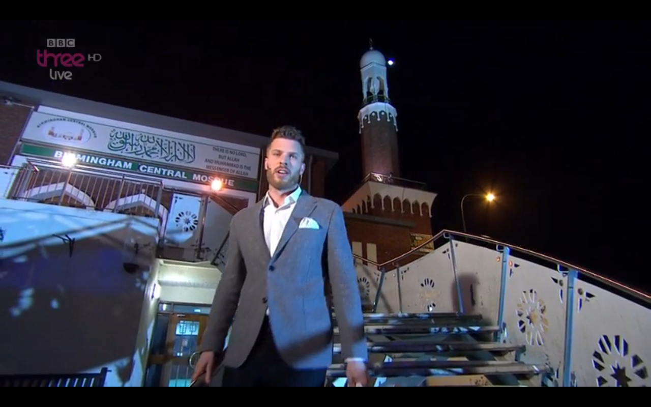 Rick Edwards presented BBC Three's Free Speech from the grounds of Birmingham Central Mosque