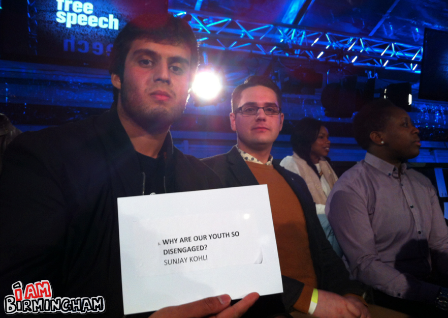 Birmingham student and young entrepreneur Sunjay Kohli was selected to voice his question on the show