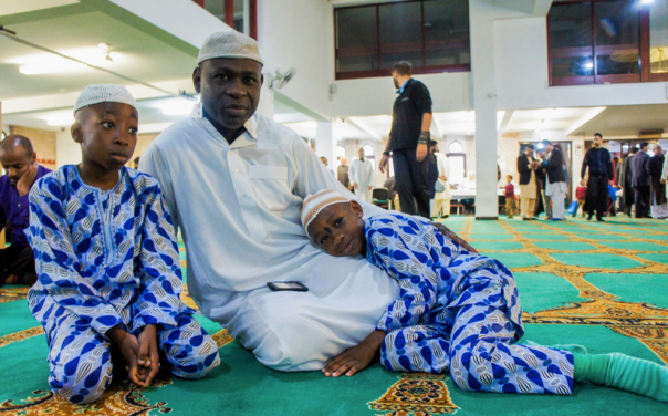 Worshippers celebrate Eid at the Birmingham Central Mosque in Birmingham (Photograph: Adam Yosef)