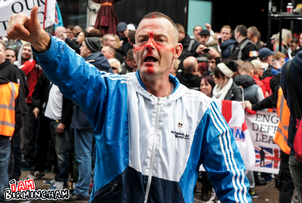 The EDL had mobilised nationally, intiially expecting 3,000 attendees, but only around 400 showed up in Birmingham (Photograph: Adam Yosef)