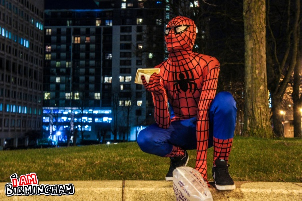 A man dressed as Spiderman has been feeding the homeless in Birmingham (Photograph: Adam Yosef)