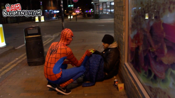 The Brummie Spiderman chatting to the rough sleeper in the city's Hurst Street