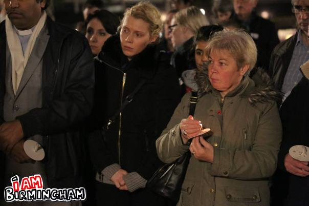Around 200 people attended the peace vigil 'for Paris' in Birmingham (Photograph: Paul Stringer)