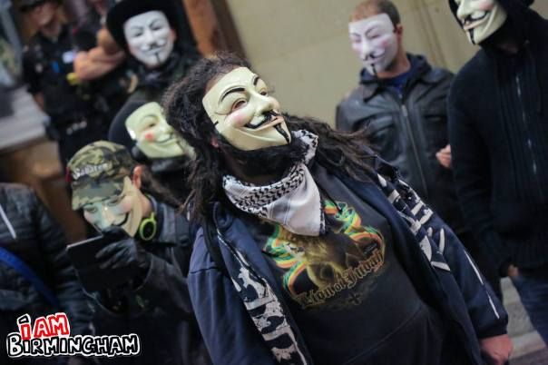 Around 30 activists attended the Million mask March event in Birmingham (Photograph: Paul Stringer)