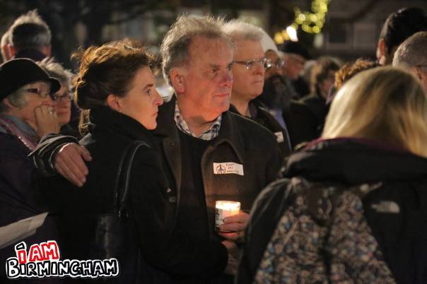 Former city council leader Sir Albert Bore attended the candle-lit vigil for peace in Birmingham (Photograph: Paul Stringer)