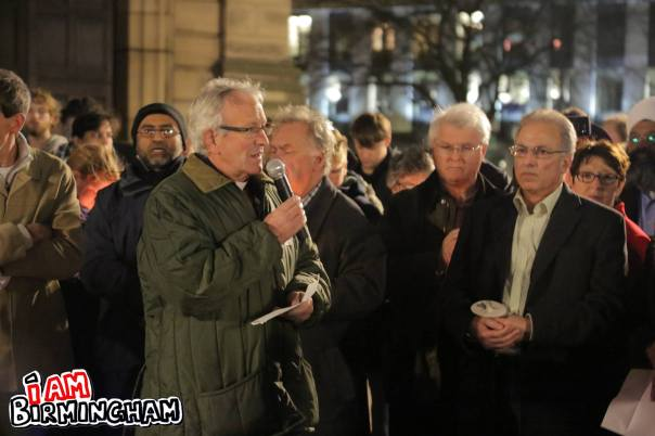 Bishop of Birmingham David Urquhart addressed the crowd at the peace vigil in Birmingham (Photograph: Paul Stringer)
