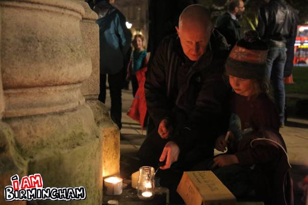 Candles were lit outside the Birmingham Cathedral as part of the peace vigil following international terrorist attacks (Photograph: Paul Stringer)