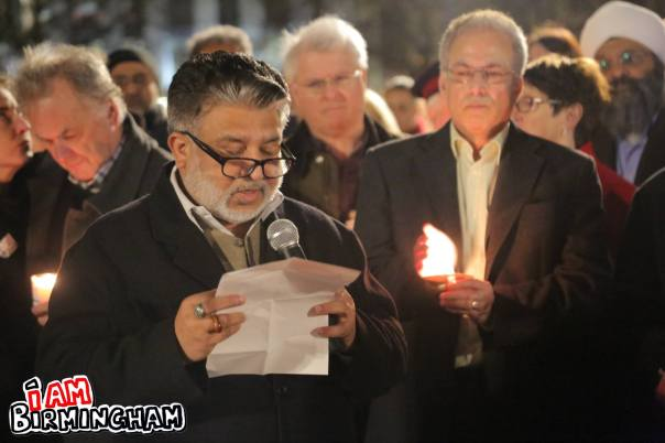 Makhdoom Chishti from the Birmingham Central Mosque attends the peace vigil in Birmingham (Photograph: Paul Stringer)