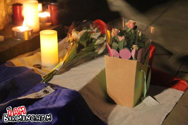 Candles, banners and posters were placed together at the peace vigil in Birmingham (Photograph: Paul Stringer)
