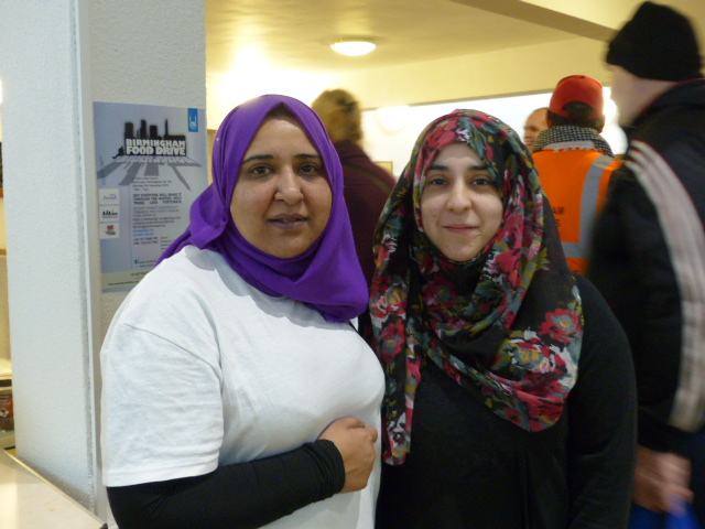 Amirah Foundation CEO and event co-organiser Shaz Manir (left) at Birmingham Food Drive (Photograph: Nikhara Korpal)