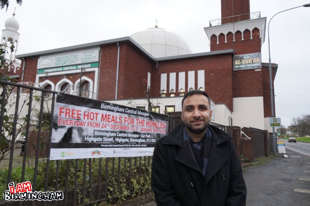 Muslim community activist Kasim Choudhry is hosting a Christmas Day soup kitchen at Birmingham Central Mosque (Photograph: Adam Yosef)