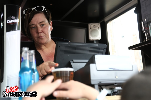 White Dee - real name Deirdre Kelly - was seen at Birmingham Pride pulling pints for Davenport brewers (Photograph: Adam Yosef)
