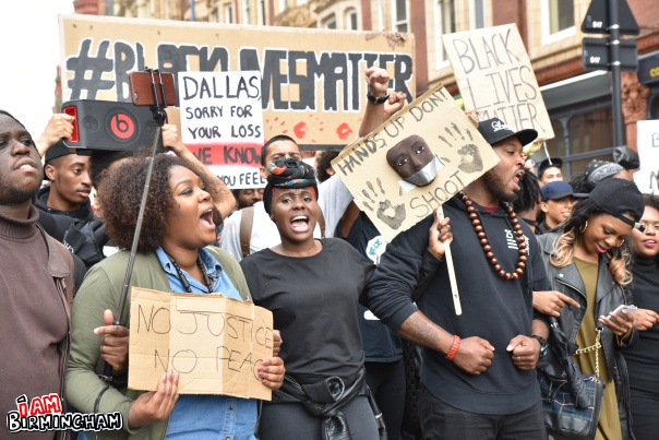 Protesters in Birmingham marched through the streets of the city centre demanding justice (Photograph: Geoff Dexter)