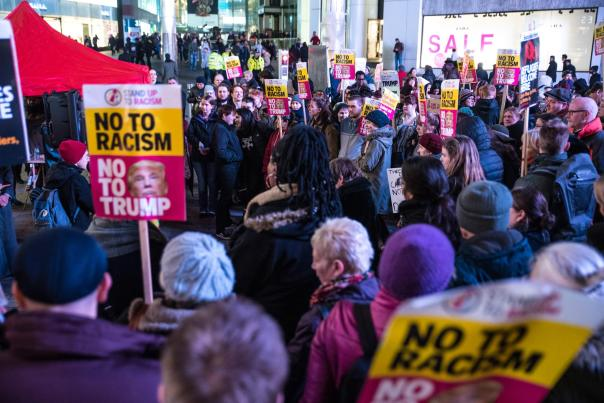 Hundreds of Brummies protest in Birmingham city centre following the inauguration of Donald Trump as the 45th US President (Photograph: Geoff Dexter)