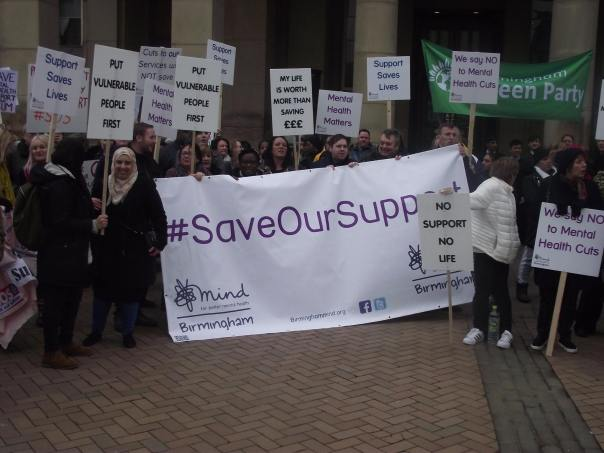Save Our Service SOS anti cuts protest in Birmingham on Tuesday 14th February 2017 (Photograph: Robert Brenchley)