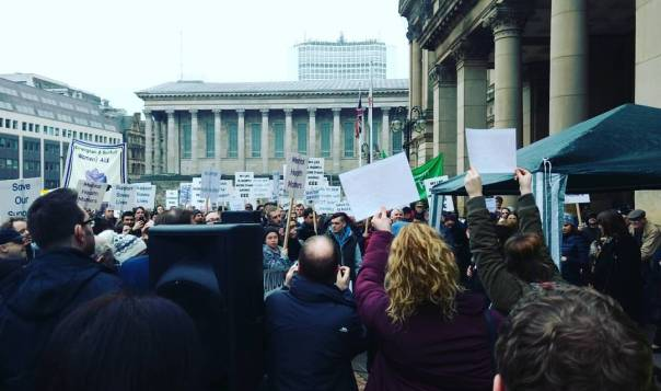 Hundreds gather outside the Council House in Victoria Square to protest Birmingham City Council's proposed cuts to support services (Photograph: Mohammed Mumit)