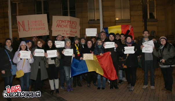 Members of the Birmingham Romanian community came out to to rally against a decree decriminalising some forms of corruption (Photograph: Davina James)