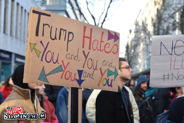 'Trump hates everyone' placard at the Birmingham anti Donald Trump protest in Birmingham (Photograph: Adam Yosef)