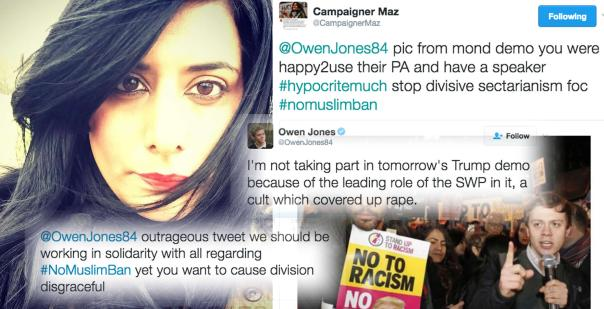 Birmingham anti-racism activist Maz Saleem has called out writer Owen Jones for boycotting an anti-Trump demonstration