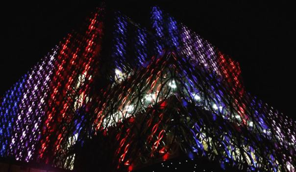 The Library of Birmingham is lit up in the colours of the Union Jack as a tribute to the victims of the London Westminster attacks (Photograph: Majid Mahmood)