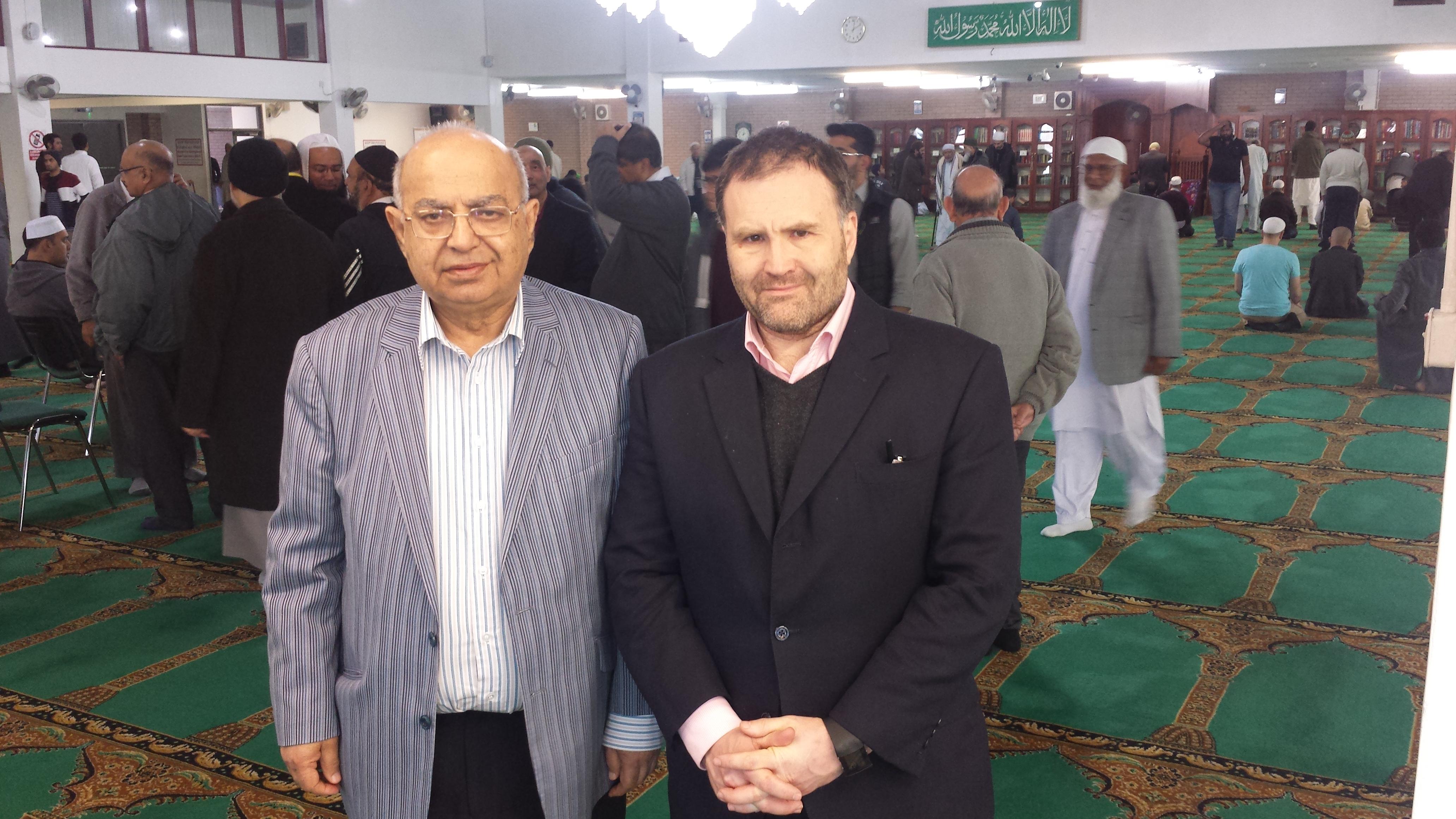 Birmingham Central Mosque Chairman Muhammad Afzal with West Midlands MEP Siôn Simon earlier today (Photograph: Adam Yosef)