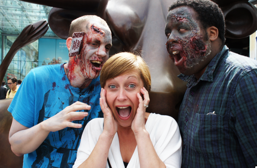 Paul Wheeler (left) and Aquila Edwards (right) are transformed into zombies at the Bullring, ahead of the 2014 Zombie Walk in Birmingham (Photograph: Adam Yosef)