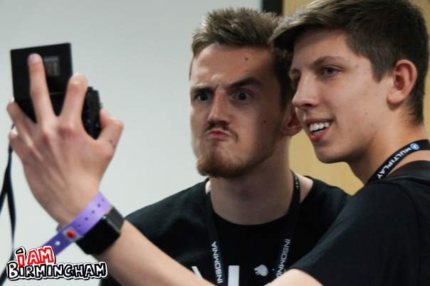 YouTube and Twitch star Syndicate poses with a fan at Insomnia 57 in Birmingham (Photograph: Adam Yosef)