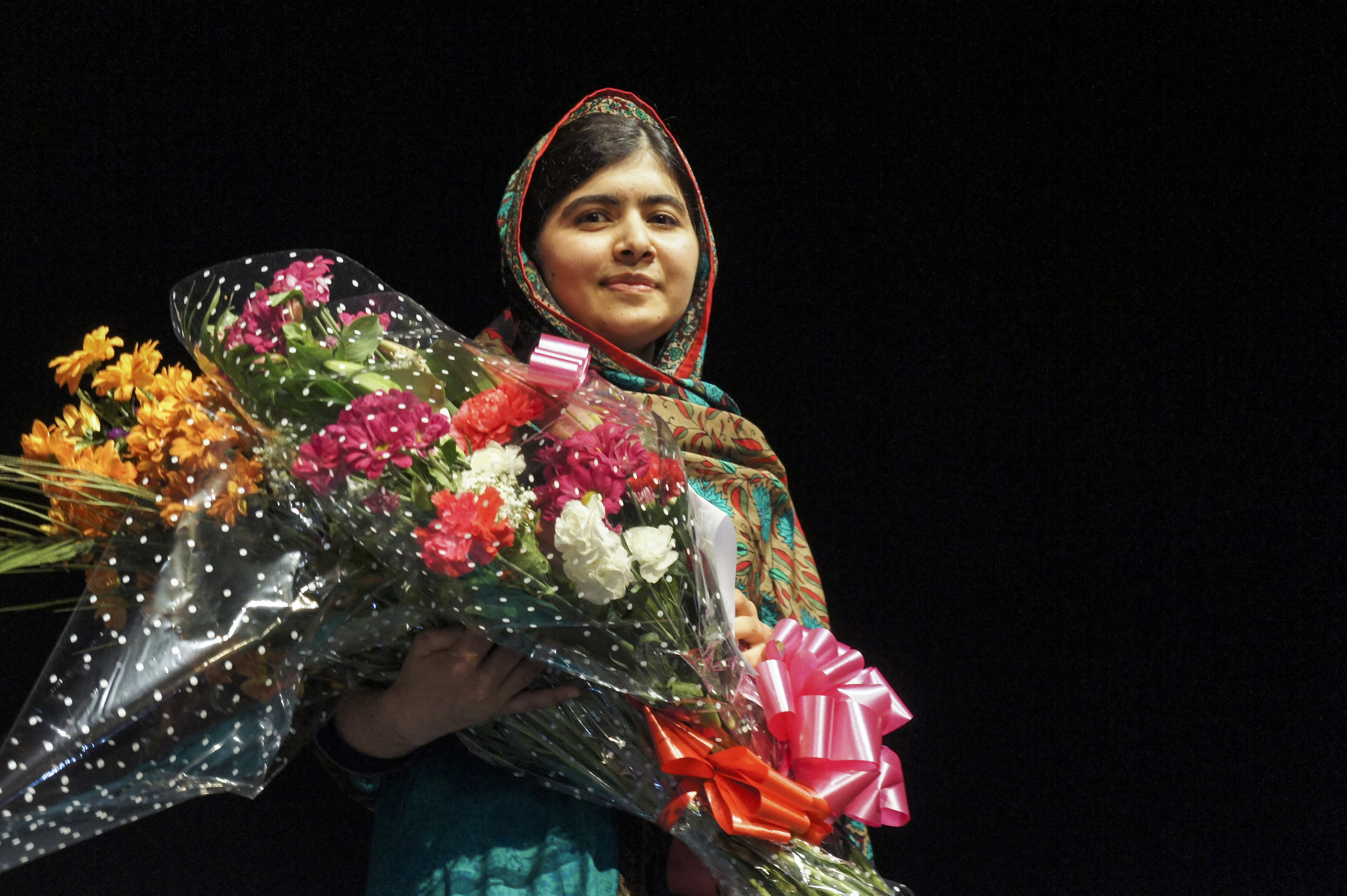 Malala Yousafzai making her Nobel Peace Prize acceptance speech from the Library of Birmingham in October 2014 (Photograph: Adam Yosef)