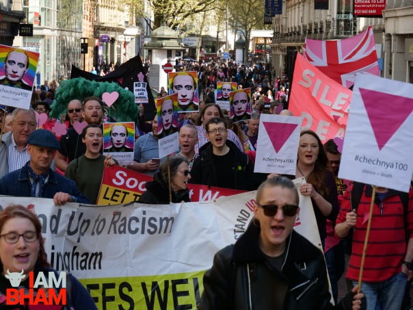 Hundreds of protesters march through central Birmingham in solidarity with the LGBT community in Chechnya (Photograph: Adam Yosef)